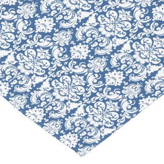 Vintage Victorian Damask Navy Blue White Floral Short Table Runner