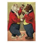 Vintage Victorian Dancing Bears Save the Date Custom Invites
