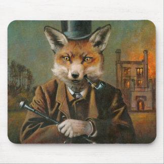 Vintage Victorian Dapper Fox Mouse mat. Mouse Pad
