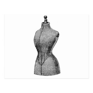 Vintage Victorian Dressform, Torso Postcard