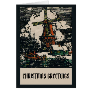 Vintage Victorian Dutch Christmas Linocut Block Card