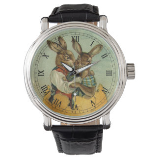 Vintage Victorian Easter Bunnies, Giant Easter Egg Watch