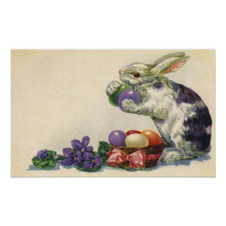 Vintage Victorian Easter Bunny, Eggs and Flowers Posters