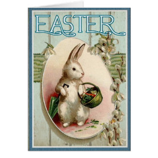 Vintage Victorian Easter Bunny With Basket Card