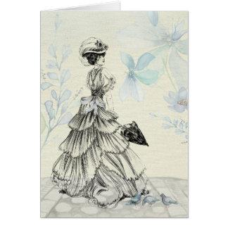 Vintage Victorian Elegant Lady In Blue Card