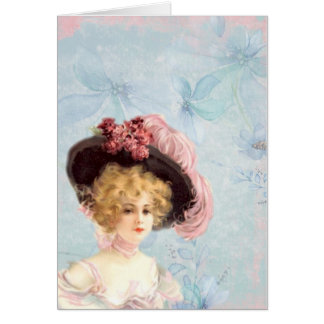 Vintage Victorian Elegant Lady In Pink Feather Hat Card