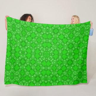 Vintage Victorian Emerald Satin Foulard Mandala Fleece Blanket