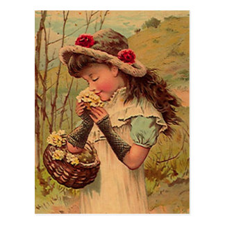VINTAGE VICTORIAN Enjoying Wild Flowers POSTCARD