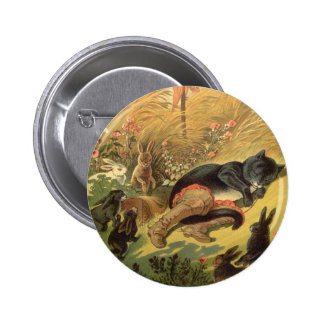 Vintage Victorian Fairy Tale, Puss in Boots 6 Cm Round Badge