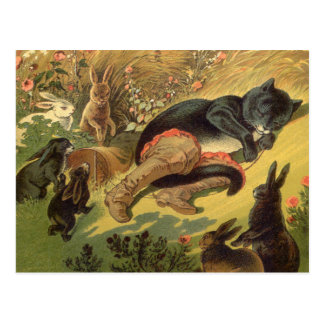 Vintage Victorian Fairy Tale, Puss in Boots Postcard