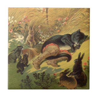 Vintage Victorian Fairy Tale, Puss in Boots Small Square Tile