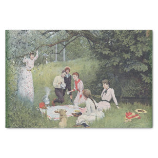 Vintage Victorian Family Picnic Woods Tissue Paper
