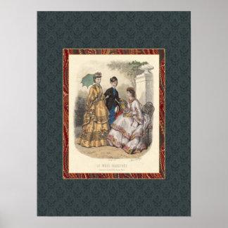 Vintage Victorian Fashion Beauties Antique Print