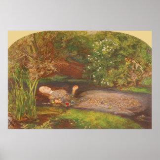 Vintage Victorian Fine Art, Ophelia by Millais Poster