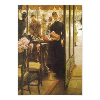 Vintage Victorian Fine Art, Shop Girl by Tissot 13 Cm X 18 Cm Invitation Card