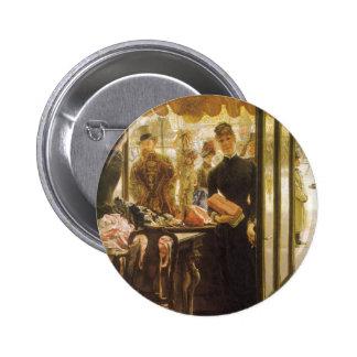 Vintage Victorian Fine Art, Shop Girl by Tissot 6 Cm Round Badge