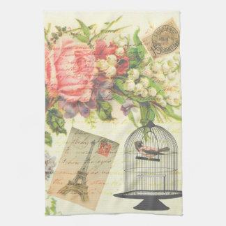 Vintage Victorian Floral Bird Paris Kitchen Towel