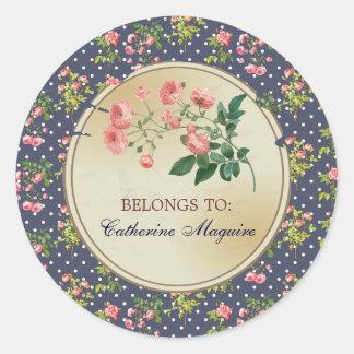Vintage Victorian Floral DIY Tag Golden Look Round Sticker