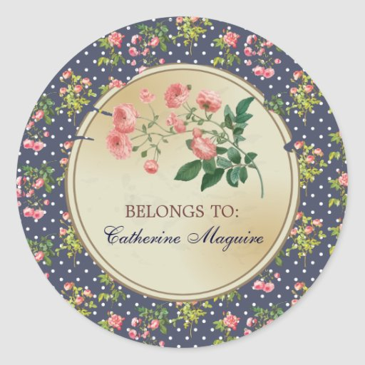 Vintage Victorian Floral DIY Tag Golden Look Sticker