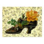 Vintage Victorian Floral Shoe Postcard