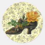 Vintage Victorian Floral Shoe Round Stickers