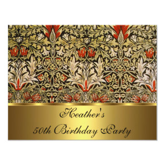 Vintage Victorian Floral Snakeshead 1876 Gold 4.25x5.5 Paper Invitation Card