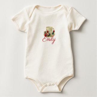 Vintage/Victorian Floral Teacup Personnalised Baby Bodysuit