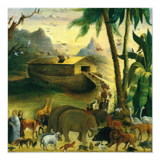 Vintage Victorian Folk Art, Noah's Ark by Hidley 13 Cm X 13 Cm Square Invitation Card