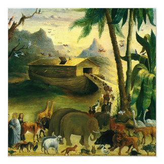 Vintage Victorian Folk Art, Noah's Ark by Hidley 13 Cm X 13 Cm Square Invitation Card