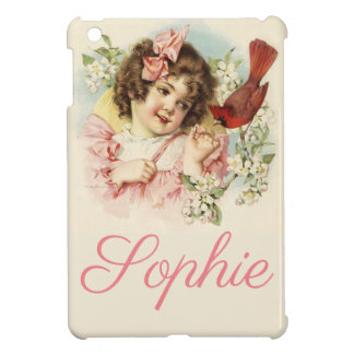 Vintage/Victorian Girl and Bird Personnalised iPad Mini Covers