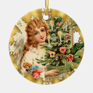 Vintage Victorian Girl Ceramic Christmas Ornament