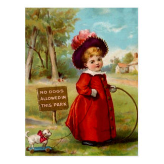 VINTAGE VICTORIAN GIRL DOG WALKER POSTCARD