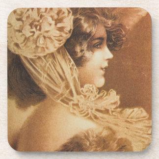 Vintage Victorian Girl Illustration Beverage Coasters
