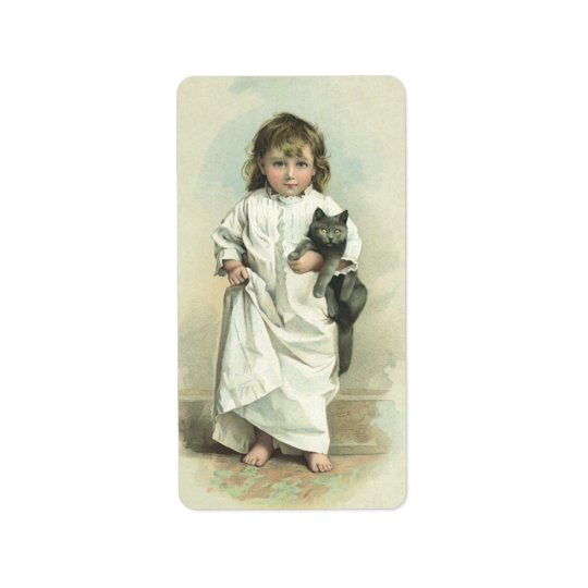 Vintage Victorian Girl in a Nightgown with Her Cat Label