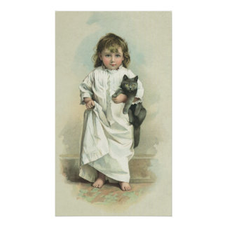 Vintage Victorian Girl in a Nightgown with Her Cat Poster