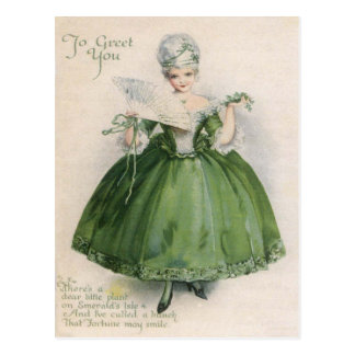 Vintage Victorian Girl In Green St Patrick's Day C Postcard