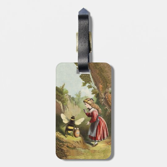 Vintage Victorian Girl in woods Bee Honey Pot Luggage Tag