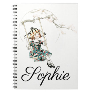Vintage/Victorian Girl on a Swing Notebooks