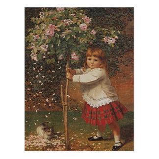 VINTAGE VICTORIAN Girl Planting Tree Rose POSTCARD