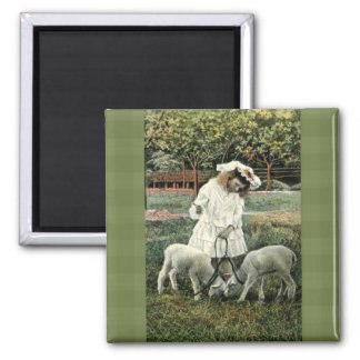 Vintage Victorian Girl with Sheep Fridge Magnet