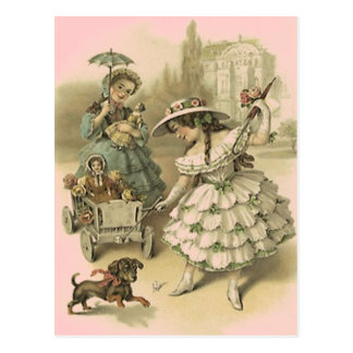 VINTAGE VICTORIAN GIRLS ON A TRIP TRAVEL POSTCARD