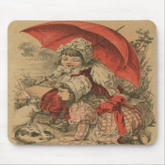 Vintage Victorian Girls with Bunnies Mousepad