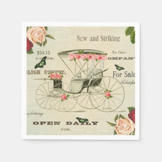 Vintage victorian girly paper napkins w/ flowers