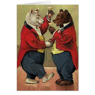 Vintage Victorian Happy, Gay, Dancing Bears Card