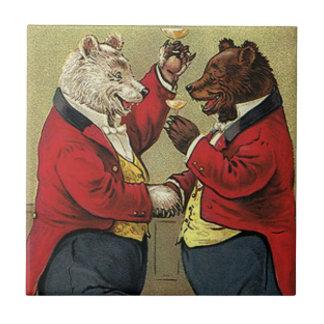 Vintage Victorian Happy, Gay, Dancing Bears Ceramic Tile