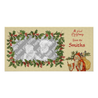 Vintage Victorian Holly & Santa Template Personalized Photo Card