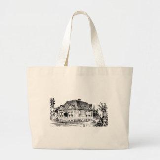 Vintage Victorian House Illustration Tote Jumbo Tote Bag