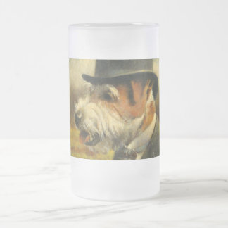 Vintage Victorian Jack Russell Frosted Glass Frosted Glass Beer Mug