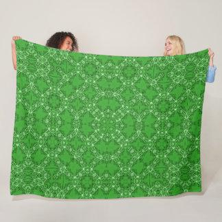 Vintage Victorian Jade Satin Foulard Mandala Fleece Blanket
