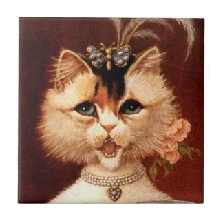 Vintage Victorian Jewels Parlor Kitten Cat Tile
